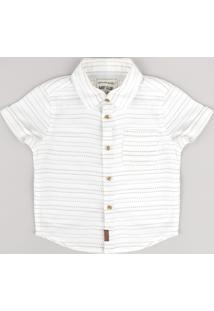 Camisa Infantil Listrada Com Bolso Manga Curta Off White