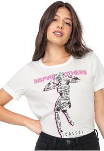 Camiseta Colcci Neon Estampada Off-White