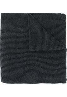 Polo Ralph Lauren Cachecol Canelado Com Logo - Cinza