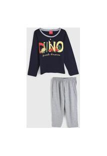 Pijama Tricae Longo Infantil Dinossauro Azul-Marinho/Cinza