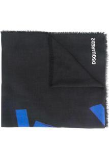 Dsquared2 Cachecol De Cashmere Com Franjas - Preto