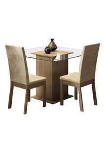 Conjunto Sala De Jantar Madesa Tamy Mesa Tampo De Vidro Com 2 Cadeiras Rustic/Imperial Rustic