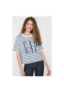 Camiseta Gap Listrada Branca/Azul-Marinho
