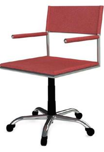 Cadeira Escritorio Elegante Couro Prensado Vermelho Cromada Rodizios - 41036 - Sun House