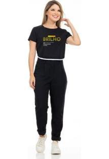 Camiseta Cropped Clara Arruda Viés Estampada 18020025 Feminina - Feminino-Preto