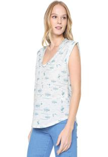 Camiseta Colcci Full Print Off-White/Verde