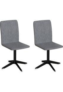 Conjunto Com 2 Cadeiras Raglan Cinza E Preto