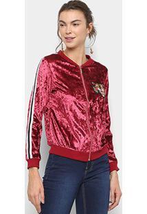 Jaqueta Bomber Lily Fashion Veludo Bordado Tigre Feminina - Feminino-Vermelho