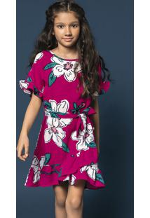 Vestido Infantil Menina Em Tecido De Viscose Com Babados Hering Kids