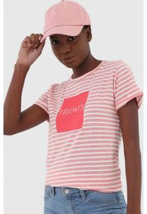 Camiseta Tricats Listrada Rosa/Off-White