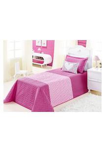 Cobre Leito Carinho Solteiro Rosa Pink Com 3 Peças Poliéster E Polipropileno - Aquarela