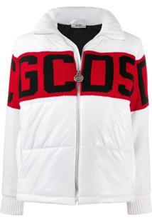 Gcds Knitted Logo Puffer Jacket - Branco