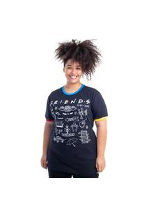 Camiseta Plus Size Friends Ícones Preto