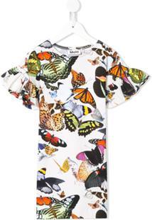 Molo Kids Vestido Coralie Papillon Estampado - Branco