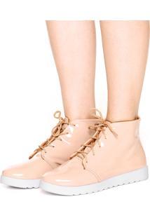 Bota Flatform Dafiti Shoes Verniz Nude