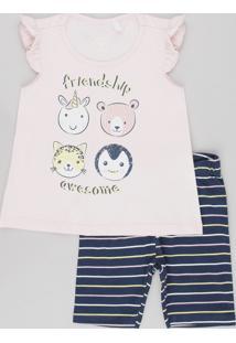 Conjunto Infantil De Blusa Animais Sem Manga Rosa Claro + Bermuda Legging Listrada Azul Marinho