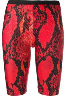 Msgm Bermuda Ciclista Com Estampa Pele De Cobra - Vermelho
