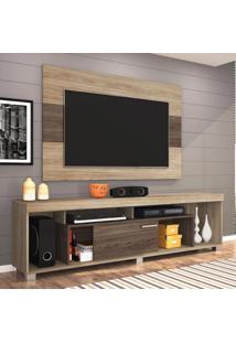 Rack Com Painel Para Tv 55 Polegadas Tomaz Areia E Amêndoa 130 Cm