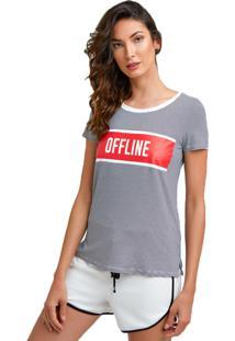 T-Shirt Listrada Kes Offline Azul Marinho