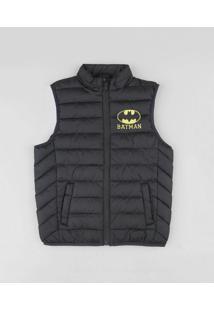 Colete Infantil Puffer Batman Com Bolsos Preto