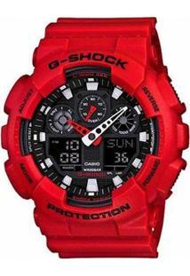 Relógio Casio G-Shock Ga-100 Analógico/Digital - Unissex-Vermelho