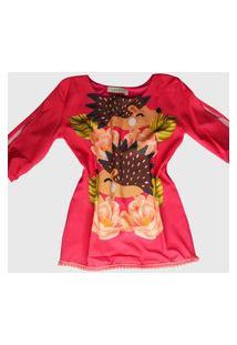 Vestido Ummi Infantil Ouriço Manga Longa Coral