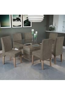 Mesa Jantar Com 6 Cadeiras Csj030No – Kappesberg - Marrom Claro