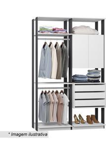 Guarda Roupa Clothes- Branco & Espresso- 220X140X44,Bentec