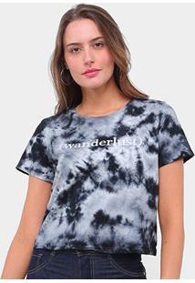 Camiseta Lecimar Tie Dye Wanderlust Feminina - Feminino-Preto