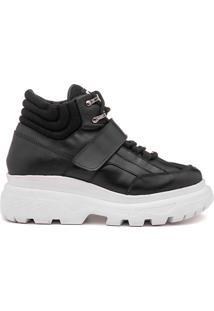 Sneaker Rock Fit York Plataforma Em Couro Preto