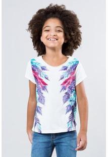 Camiseta Infantil Penas Laterais Reserva Mini Feminina - Feminino-Branco