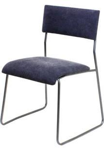 Cadeira Keeper Estofada Lona Preta Base Aco Bruto - 35653 - Sun House