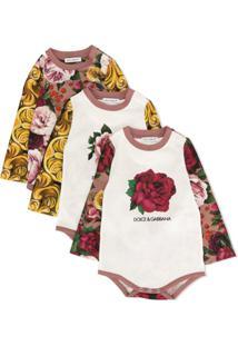Dolce & Gabbana Kids Conjunto Com 3 Body Com Estampa Barroca E Floral - Estampado