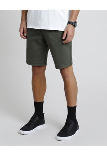 Bermuda De Sarja Masculina Slim Verde Militar