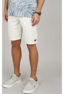Bermuda Masculina Slim Com Bolsos Bege Claro
