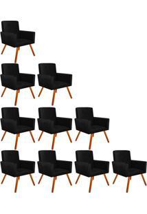 Kit 10 Poltronas Decorativas Nina Suede Preto Com Encosto Alto Drossi