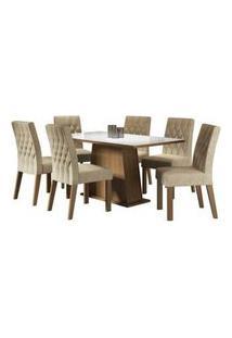Conjunto Sala De Jantar Madesa Rafaela Mesa Tampo De Vidro Com 6 Cadeiras Rustic/Branco/Imperial Rustic