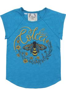 Camiseta Colcci Fun Menina Frontal Azul
