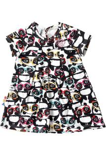 Vestido Evasê Estampado Pandas Infantil Zig Zig Zaa