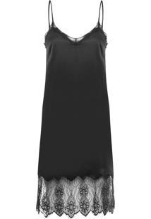 Vestido Seda Slip Dress - Preto