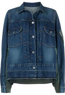 Sacai Jaqueta Jeans Com Recortes Contrastantes - Azul