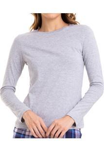 Camiseta Manga Longa Mescla De Algodão Sepie (Ls223)
