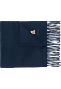 Moschino Cachecol Com Logo Bordado E Franjas - Azul