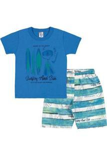 Conjunto Primeiros Passos Menino Meia Malha - Masculino-Azul