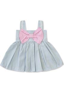 Vestido Padroeira Baby Menina Linda Laço Azul Bebê