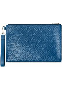Burberry Clutch Monogramada - Azul