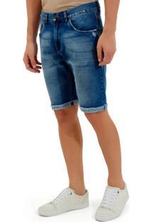 Bermuda John John Clássica Dubai Jeans Azul Masculina (Jeans Medio, 36)