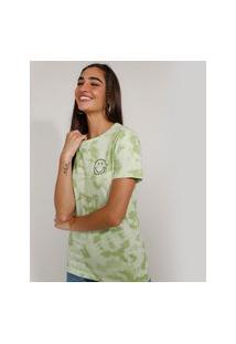 Camiseta Feminina Smiley Com Bordado Estampada Tie Dye Manga Curta Verde