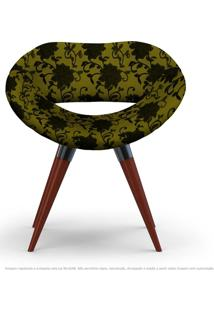 Poltrona Beijo Floral Preto E Amarelo Cadeira Decorativa Com Base Fixa