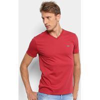 f523472e0f Camiseta Lacoste Gola V Regular Fit Masculina - Masculino-Vermelho Escuro